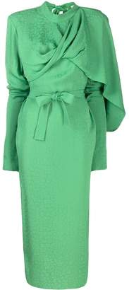 MATÉRIEL drape panelled belted dress
