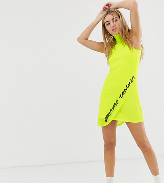 Crooked Tongues neon mesh overlayer dress with embroidered logo-Green