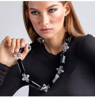 Kenneth Jay Lane Vintage Black And Clear Beads Necklace
