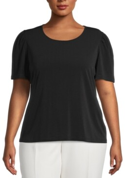 Bar III Plus Size Puff-Sleeve Blouse, Created for Macy's