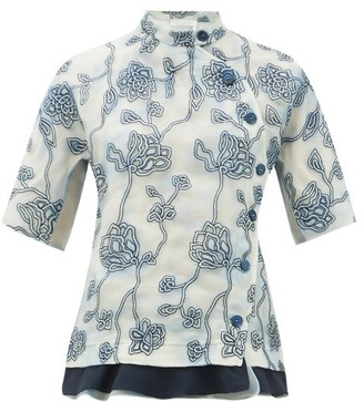 Chloé Floral-embroidered Silk Organza Blouse - Womens - Blue Multi