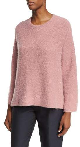 Co Tie-Back Bell-Sleeve Sweater, Rose (Medium Pink)