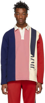 Leon Aime Dore Navy and Pink French Terry Rugby Polo