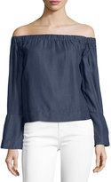 7 For All Mankind Off-the-Shoulder Long-Sleeve Denim Top