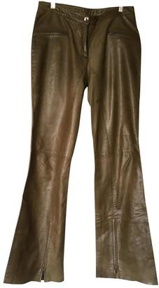 Sonia Rykiel Khaki Leather Trousers for Women Vintage
