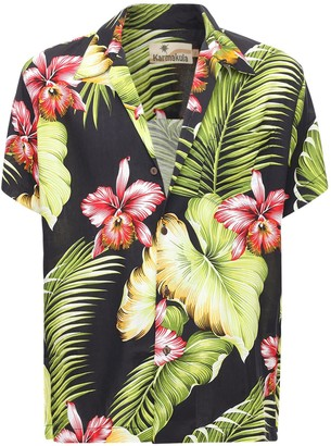 Manoa Black Printed Hawaiian Shirt