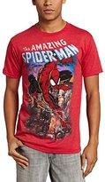 Marvel Spiderman Men's Spiderscene T-Shirt, Red Heather, Large