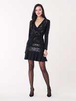 Diane von Furstenberg Mara Sequined Jersey Faux-Wrap Dress