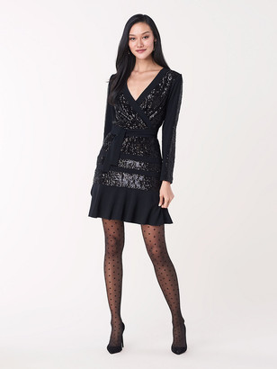 Diane von Furstenberg Mara Sequined Jersey Faux-Wrap Dress