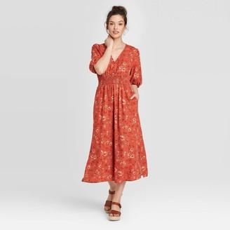 Universal Thread Woen's Floral Print Puff Short Sleeve Dress - Universal ThreadTM