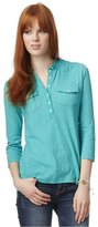 Aeropostale Womens Solid Popover Henley Shirt Xs