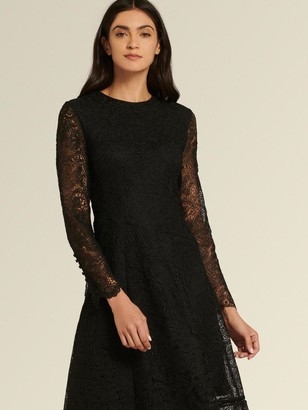 DKNY Donna Karan Women's Asymmetrical Lace Dress - Black - Size 16