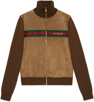 Gucci Suede and knit cotton bomber jacket