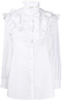 Alexander McQueen Ruffled Bib Long-Sleeved Blouse