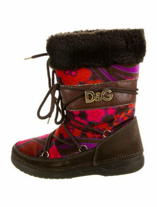 Dolce & Gabbana Shearling Printed Lace-Up Boots Brown
