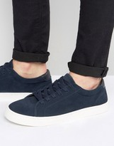 Asos Lace Up Sneakers In Navy Real Suede