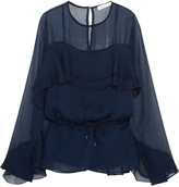 See by Chloe Ruffled Chiffon Blouse - Navy