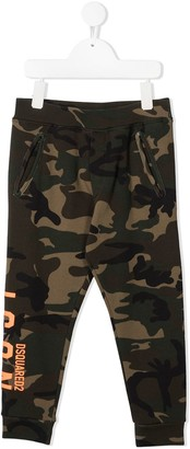DSQUARED2 TEEN logo camouflage-print track pants