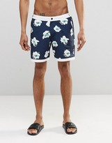 Asos Swim Shorts With Fixed Waistband In Floral Print In Mid Length