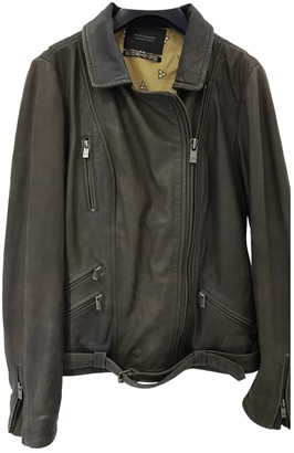 Scotch & Soda Khaki Leather Leather Jacket for Women