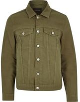 River Island Mens Dark green denim jacket