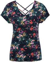 M&Co Floral print lattice back t-shirt