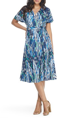 Maggy London Geo Print Wrap Midi Dress