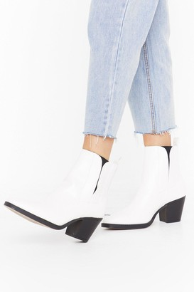 Nasty Gal Womens Skip to the Weekend Faux Leather Ankle Boots - White