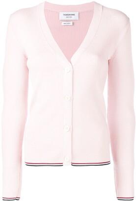 Thom Browne Merino Wool Pink Cardigan