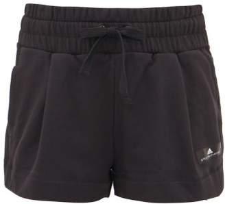 adidas by Stella McCartney Logo-print Loopback-cotton Shorts - Womens - Black