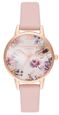 Olivia Burton Women's Dusty Pink Leather Strap Watch 30mm