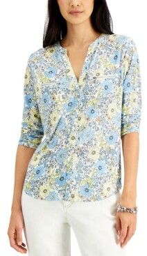 INC International Concepts Inc Floral Printed Zip-Detail Top, Created for Macy's