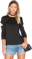 Monrow Heather Fleece Open Sleeve Sweatshirt