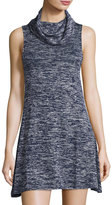 Bishop + Young Cowl-Neck Sleeveless Trapeze Dress, Blue/Gray