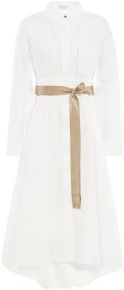 Brunello Cucinelli Belted Bead-embellished Crinkled Cotton-blend Poplin Midi Dress