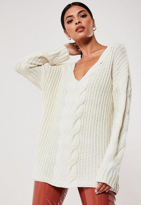 Missguided White Extreme V Neck Cable Knit Sweater