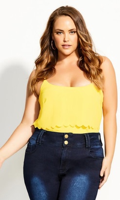 City Chic Scalloped Cami - buttercup