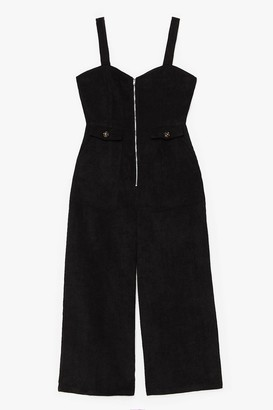 Nasty Gal Womens Who Do You Think You'Re Kidding Corduroy Jumpsuit - Black - 6, Black