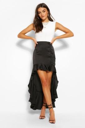 boohoo Satin Button Ruffle Drop Hem Midi Skirt
