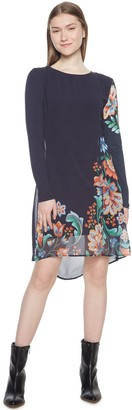 Desigual Jersey Dress with Floral Print Voile