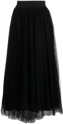 Fabiana Filippi Pleated Tulle Midi Skirt