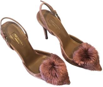 Aquazzura Powder Puff Pink Velvet Heels