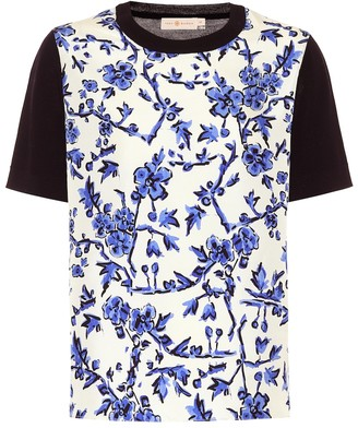 Tory Burch Floral silk and merino wool top
