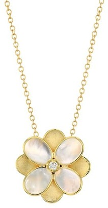 Marco Bicego Petali 18K Yellow Gold, Mother-Of-Pearl & Diamond Small Flower Pendant Necklace
