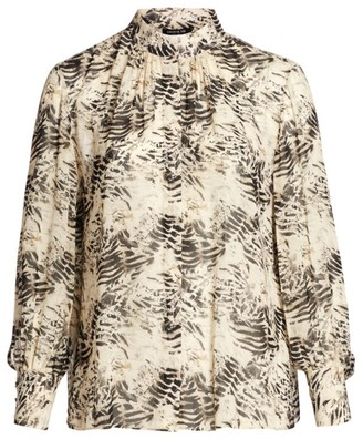 Lafayette 148 New York, Plus Size Mattea Printed Stand Collar Blouse