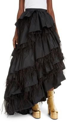 Dries Van Noten Shiloh Asymmetrical Tiered Taffeta & Feather Maxi Skirt