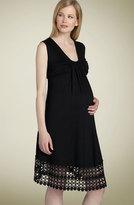 Maternity Crochet Trim Flutter Dress