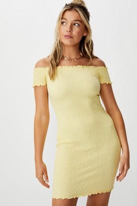 Supre Kristy Shirred Off Shoulder Dress
