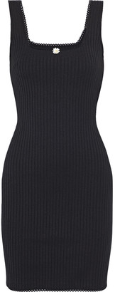 Solid & Striped Floral-appliqued Ribbed-knit Mini Dress
