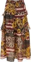 River Island Womens Brown mix print tiered frill maxi skirt